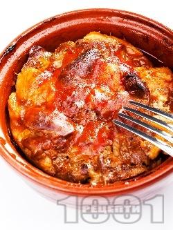 Печено копривщенско гювече с пилешки дреболии (дробчета, сърца), бяло месо и доматено пюре по селски на фурна - снимка на рецептата